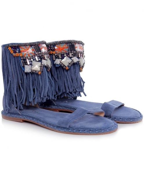 Alma en Pena Fringed Beaded Sandals