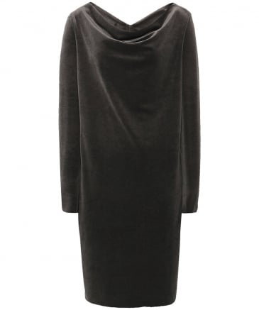 Velvet Cowl Neck Lotus Dress