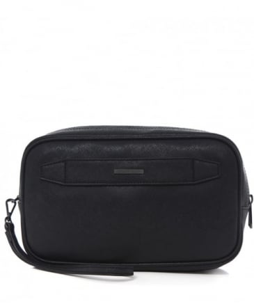 Faux Leather Grained Wash Bag