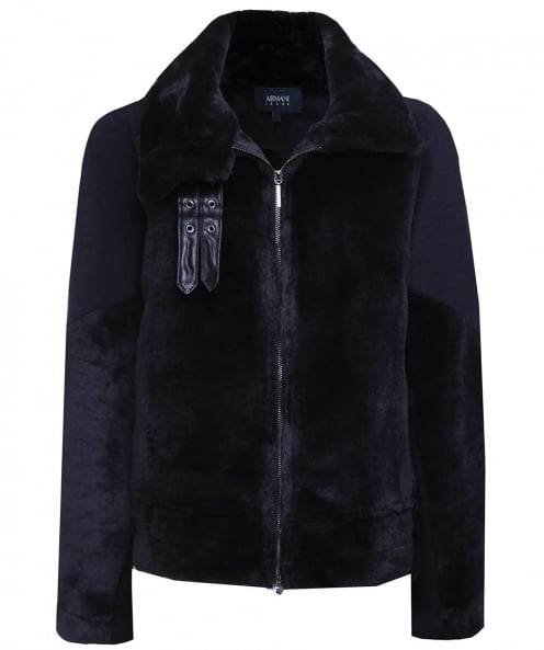 Armani Jeans Faux Shearling Buckle Jacket
