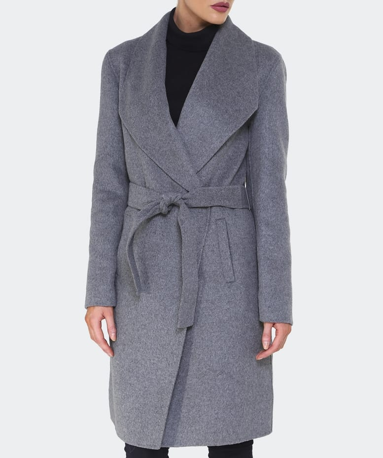 Armani Jeans Grey Wool Wrap Coat | Jules B