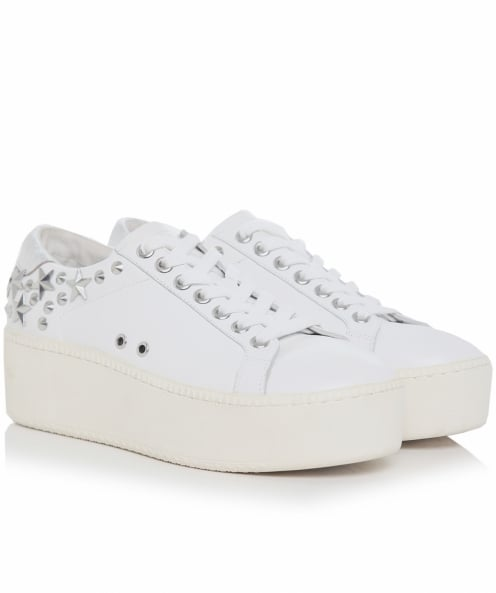 Ash Leather Cyber Studded Trainers