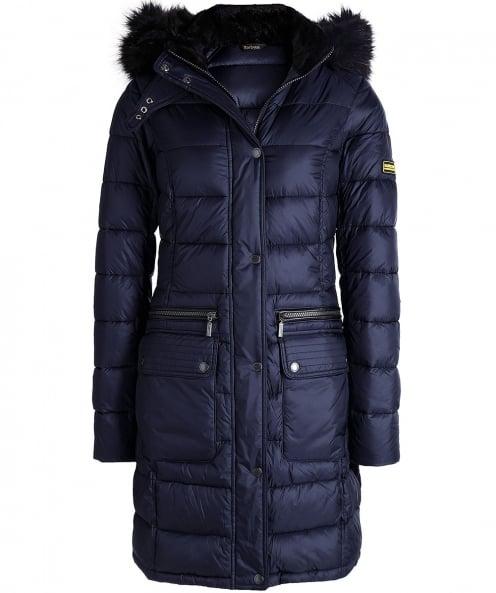 Barbour International Faux Fur Hooded Dunnet Coat