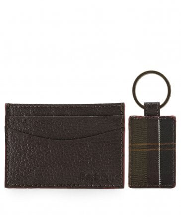 Grain Leather Card Holder & Tartan Keyring