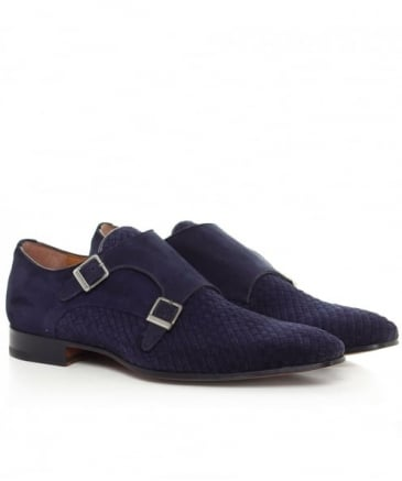 Suede Woven Double Monk Strap Shoes