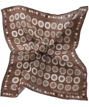Linen Circle Print Pocket Square