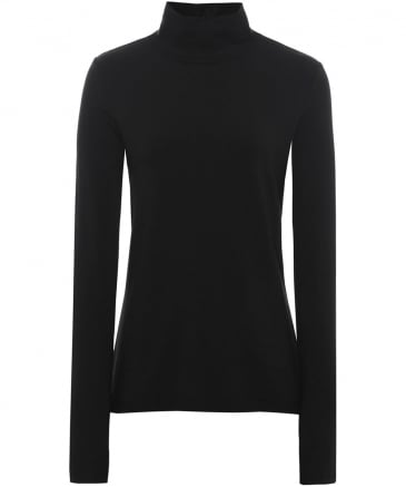 Jersey Basic Roll Neck Top