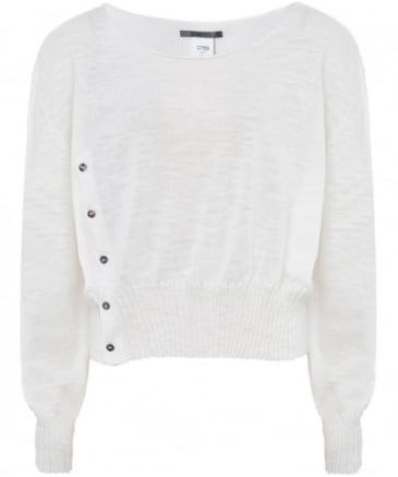 Linen Blend Cropped Buttoned Sweater