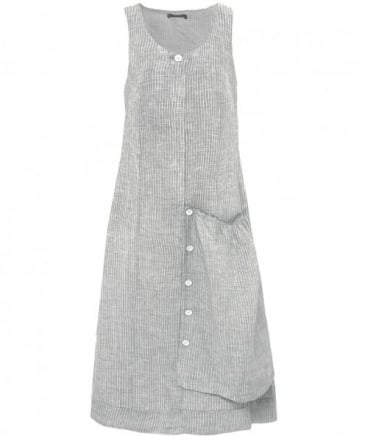 Linen Pinstripe Pocket Dress