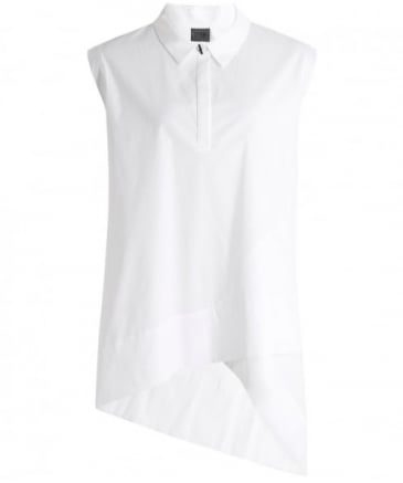Woven Asymmetric Sleeveless Blouse