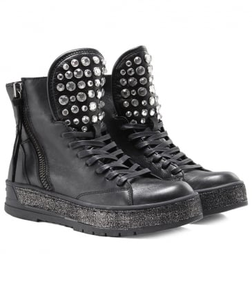 Gemstone Studded Leather Boots
