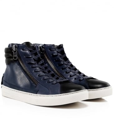 Leather High-Top Java Trainers