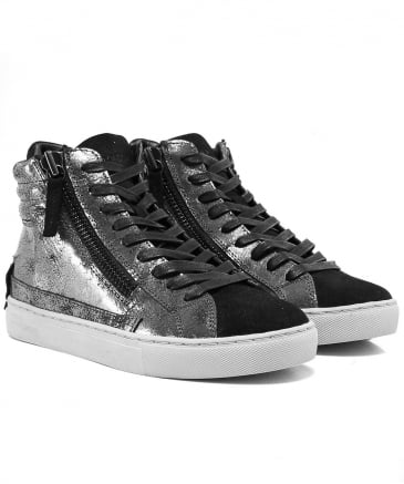 Metallic Leather Java High Top Trainers