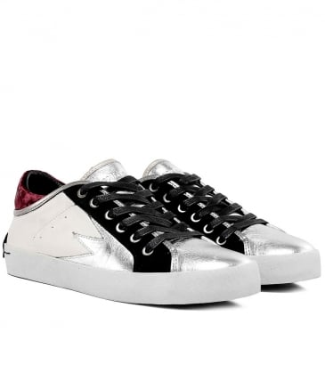 Metallic Leather Low Top Trainers