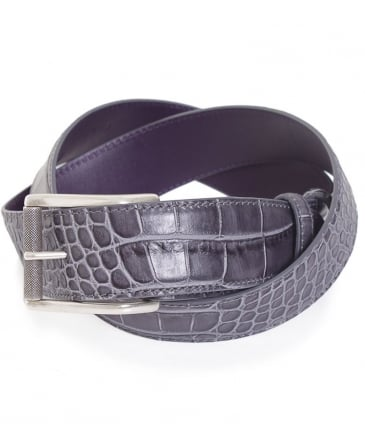 Crocodile Effect Leather Belt