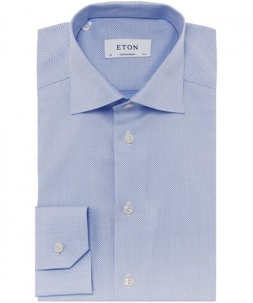 Eton Contemporary Fit Micro Pattern Satin Shirt