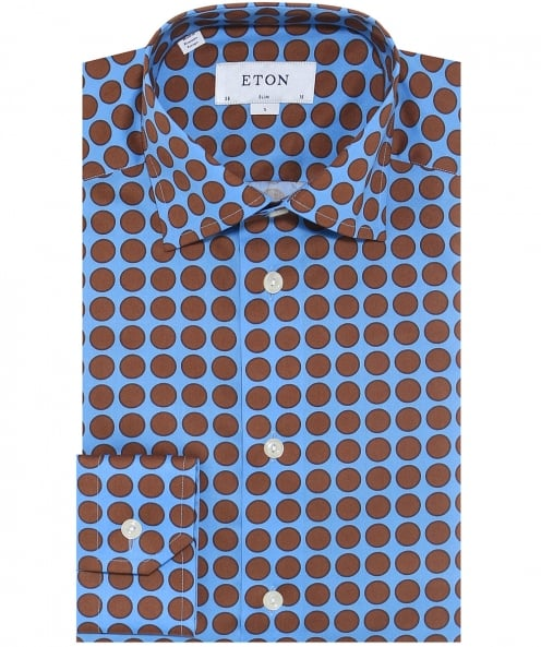 Eton Slim Fit Signature Twill Polka Dot Shirt
