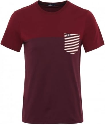 Crew Neck Striped Pocket T-Shirt