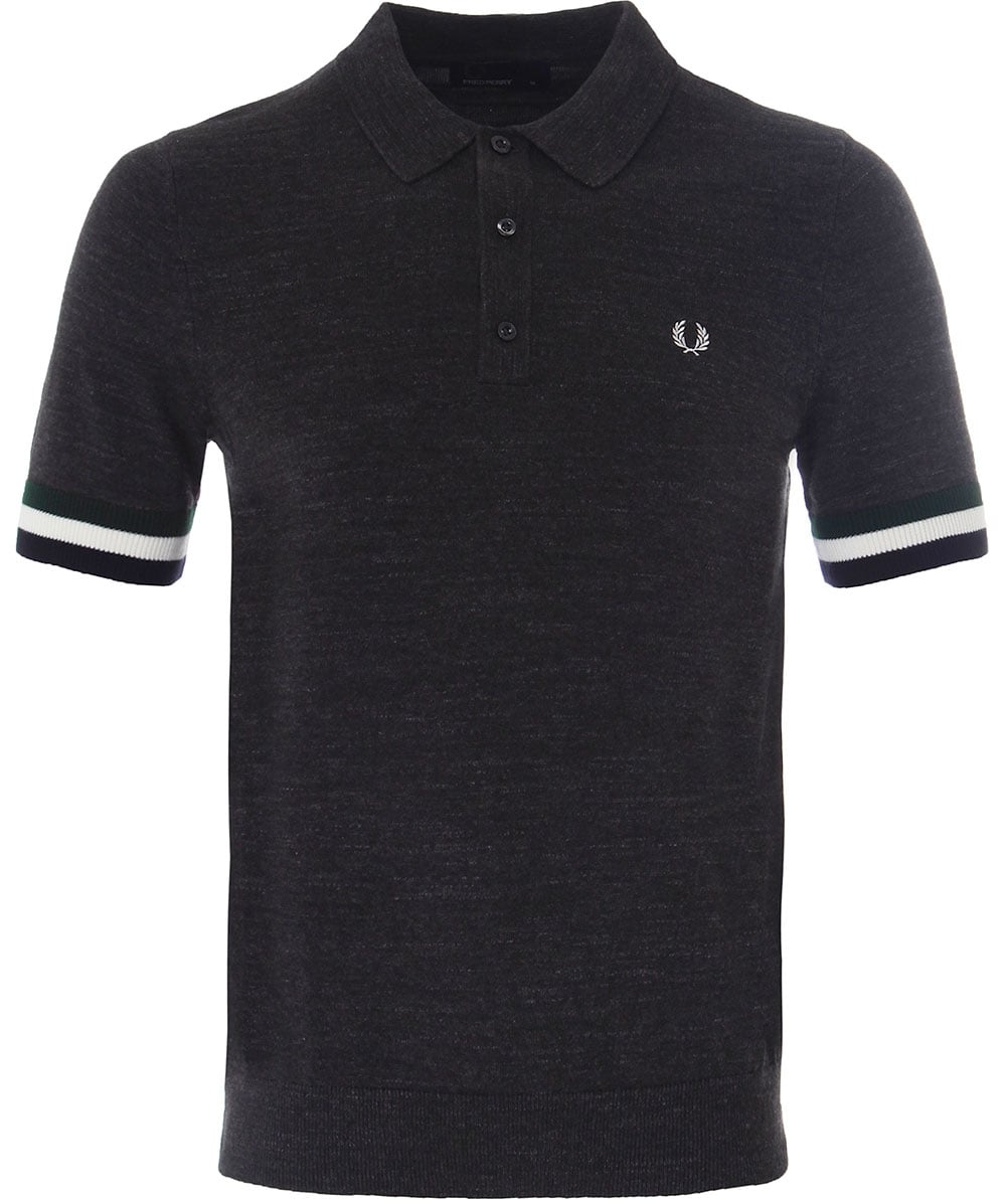 Fred Perry Striped Cuff Knitted Polo Shirt K1510 Jules B