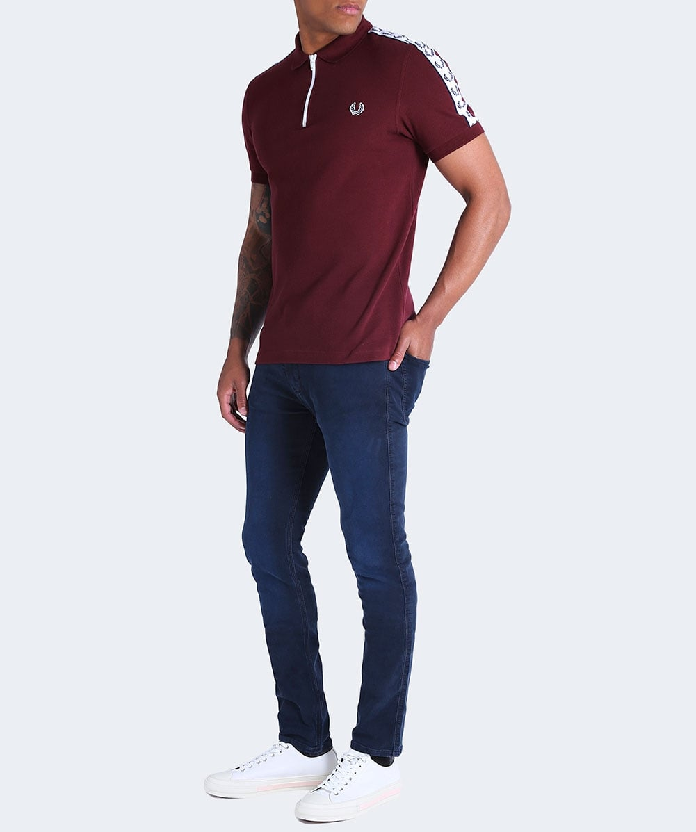 Fred Perry Aubergine Zip Neck Pique Polo Shirt M2545 472