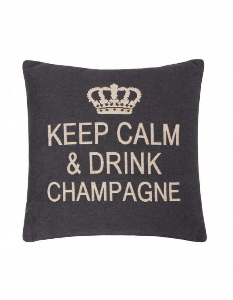 fs home collections keep calm drink champagne cushion jules b. Black Bedroom Furniture Sets. Home Design Ideas