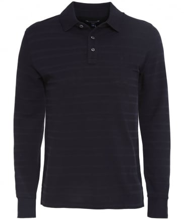 Pique Striped Long Sleeve Polo Shirt