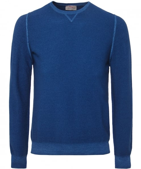 Gran Sasso Rice Stitch Wool Crew Neck Jumper