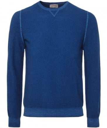 Rice Stitch Wool Crew Neck Jumper