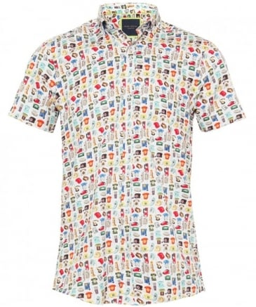 Short Sleeve Telephone Print Shirt