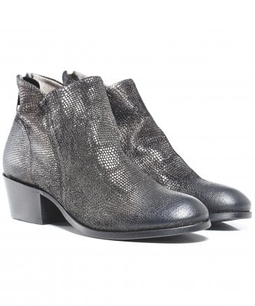 Apisi Metallic Pewter Ankle Boots