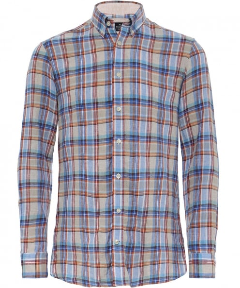 Hackett Slim Fit Linen Cuba Check Shirt