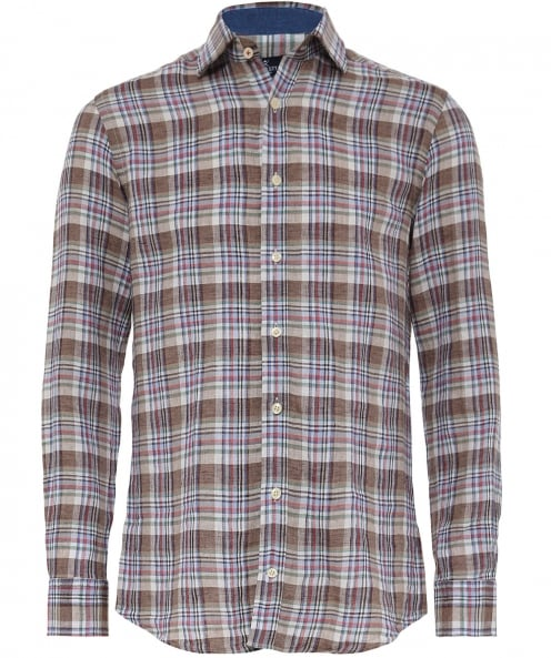 Hackett Slim Fit Linen Sahara Delave Plaid Shirt