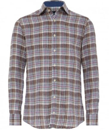 Slim Fit Linen Sahara Delave Plaid Shirt