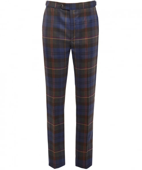 Hackett Slim Fit Wool Tartan Trousers