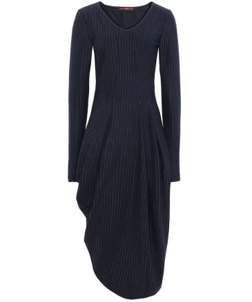 Pinstripe Slender Midi Dress