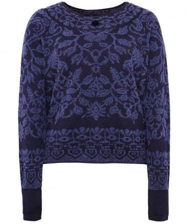 Wool Plush Intarsia Knit Jumper