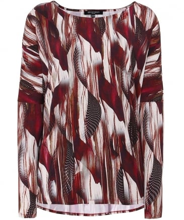 Zazie Feather Print Top