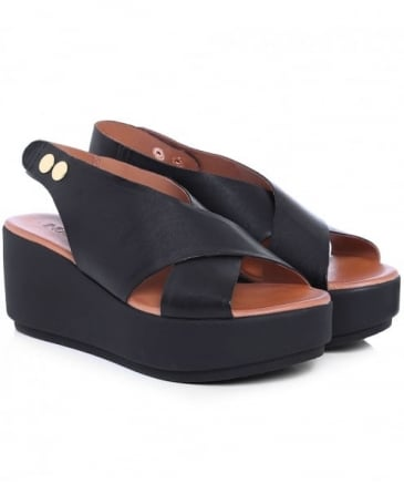 Leather Sling Back Wedge Sandals