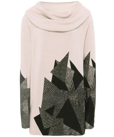 Abstract Print Cowl Neck Jumper