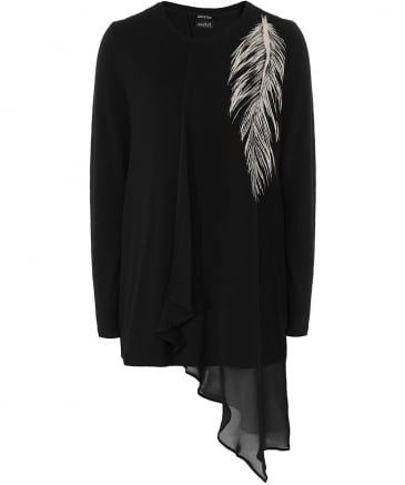 Sheer Overlay Feather Print Top