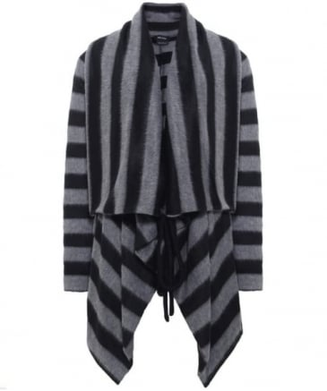 Striped Waist Tie Cardigan
