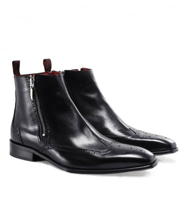 Leather Double Zip Brogue Boots