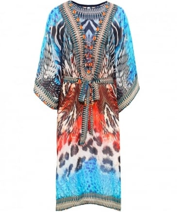 Butterfly Drawstring V-Neck Kaftan