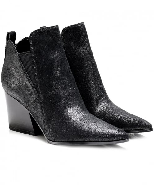 Kendall and Kylie Cracked Leather Fox Ankle Boots