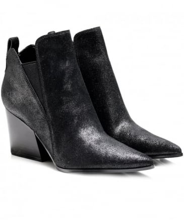 Cracked Leather Fox Ankle Boots
