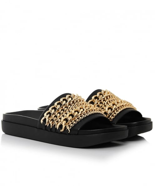 Kendall and Kylie Leather Shiloh Chain Sliders