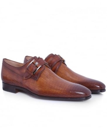 Perforated Leather Monk Strap Shoes