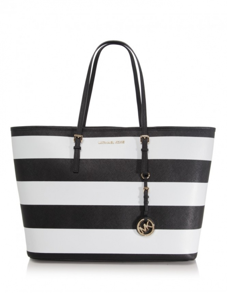 michael kors striped medium travel tote bag jules b. Black Bedroom Furniture Sets. Home Design Ideas