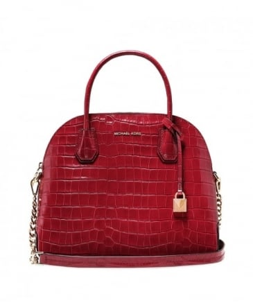 Embossed Leather Croco Dome Satchel