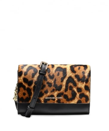 Leather Leopard Print Mara Clutch